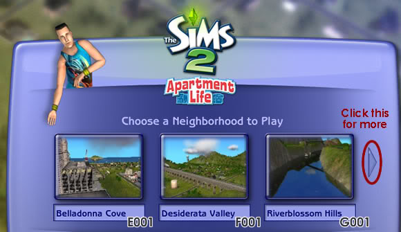 Sims 2 Neighborhood Manager Screen - Page 1