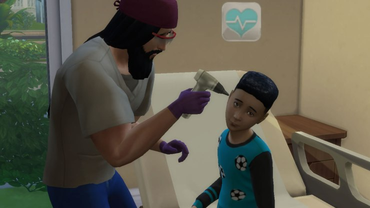 Sims 4 Doctor checks patient's ears